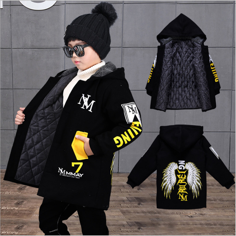 Warm Coat Hooded-Jackets Winter Kids Children Outwear Boys Clothes Cotton Fashion Military-Thick