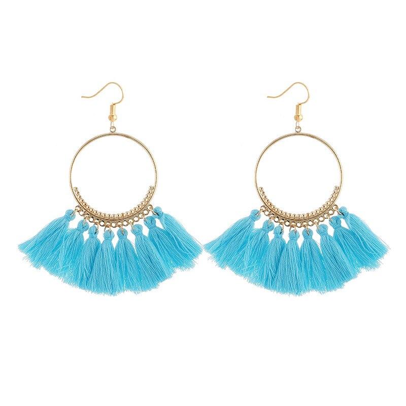 cjh011 Christmas Hoops Tassle Tassel Earrings Drop Fringe Earrings