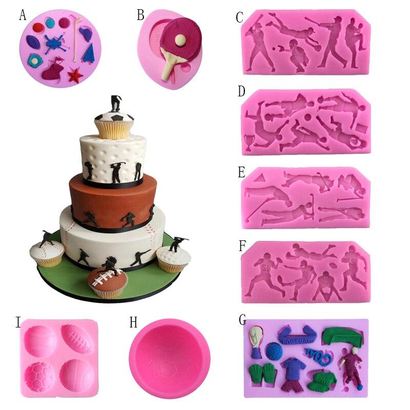 Sports Series Shaped Football American Football Baseball Golf Silicone Cake Decorating Tool Cake Mould