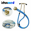 2016 Fashion Health Care Professional Multi-Functional Golden Double Dual Head Stethoscope Medical Estetoscopio Free Shipping