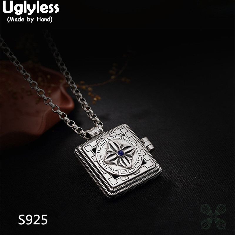 Uglyless Real 925 Sterling Silver Cross Vajra Buddhism Open Gaudencio Box Necklaces without Chain Square Handmade Pendant Bijoux 925 sterling silver jewelry manufacturers buddhism jiangmo vajra gawu pendant pendant silver peace box