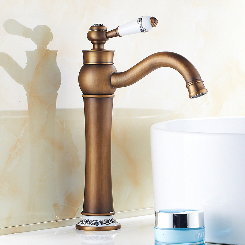 Bathroom basin faucet mixer with pull out, Brass single hole water tap kitchen sink faucet, Copper basin faucet antique antique high end kitchen sink faucet single hole brass kitchen sink mixer tap