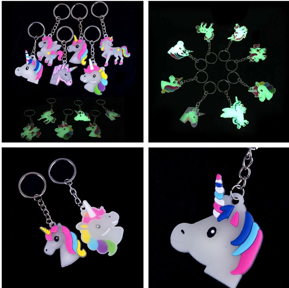 Glow In Dark Cartoon Unicorn Keychain Keyring For Woman Girls Handbag Keyholder Accessories