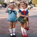 0-3 T Baby Girl Clothes 2017 Nuevo Ultra-Azul Precioso Niña Patchwork Jumpsuit Mamelucos Recién Nacidos Del Bebé Del Arco nudo Ropa En General