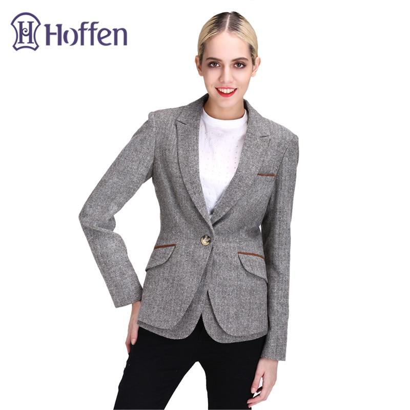 Hoffen 2017 mode vrouwen slim fit blazer jassen casual een knop - Dameskleding