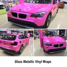 5ft X 65ft/Roll Não degomagem Metálico Brilhante rosa envoltório de Vinil Envoltório Carro Styling Gloss Pérola Vinil metálico com as bolhas de ar