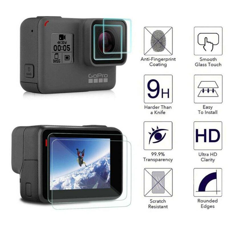 Tempered Glass Protector Cover Case For GoPro Go Pro Hero5 Hero6 Hero7 Hero 5/6/7 Black Camera Lens LCD Screen Protection Film