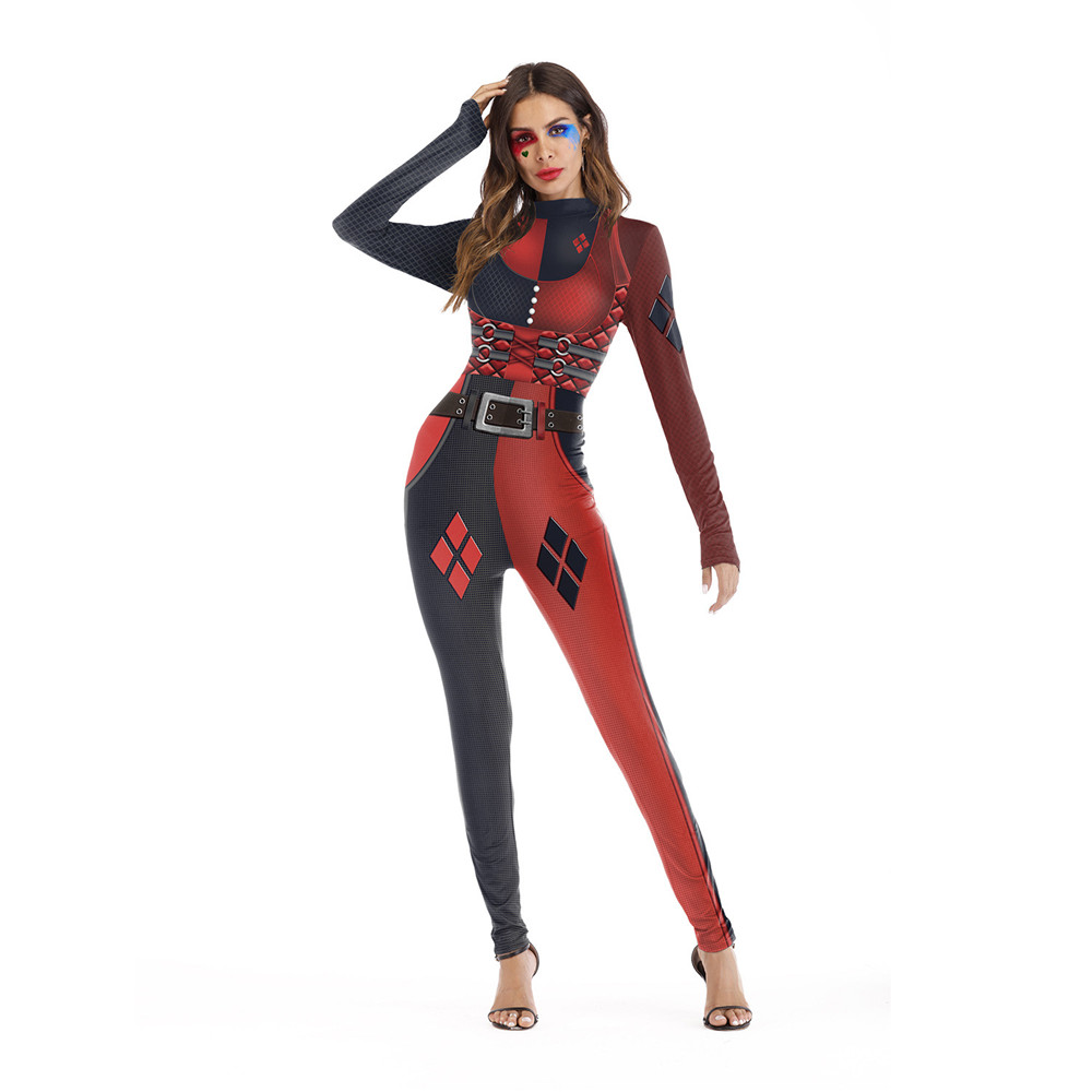 Halloween Carnival Costume Cosplay Harley Quinn Clown Funny Skinny Jumpsuit Adult Female Zombie Ghost Horror Costume bodysuit