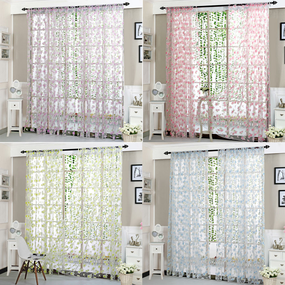 High Quality Flower Sheer Curtain For Home Decor Living Room Tulle ...