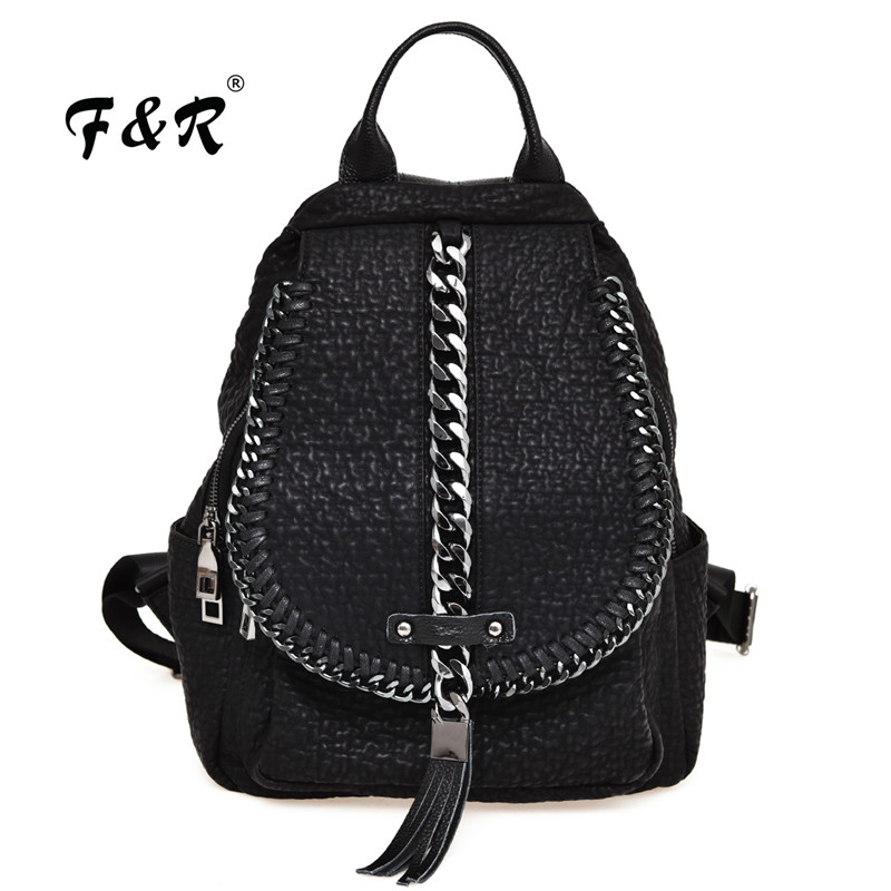 Manmade Soft Washed Leather Backpack Tassel Chain Decroted School Bags Sac A Dos Travel Teenage Girl Backpacks gg bag sac a dos