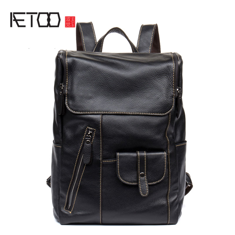 AETOO Leather shoulder bag mens leather backpack multi-functional computer bag travel casual Korean students bagsAETOO Leather shoulder bag mens leather backpack multi-functional computer bag travel casual Korean students bags