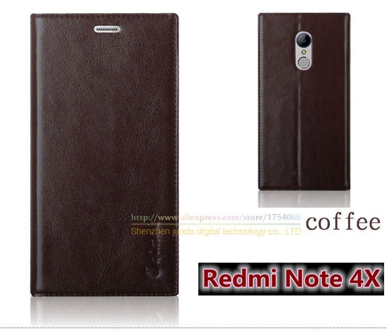 """Цена за Роскошные Высокое Качество Натуральной Кожи Моды Стенд Книга Стиль Телефон Сумка Case Для Xiaomi Redmi Note 4X Note4x 5.5 """"откидная Крышка"""