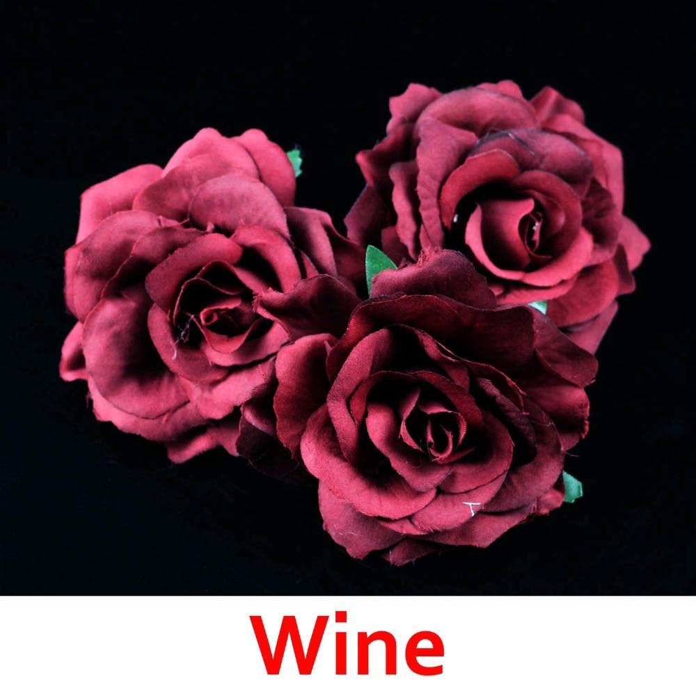 "6  Brown Burgandy Wedding Rose Artificial Silk Flower 3/"" Head Hair Clip Craft"