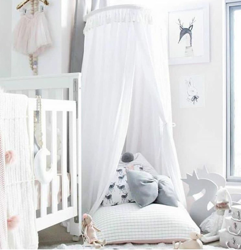 Realistic Kid Baby Bed Canopy Bedcover Mosquito Crib Netting Curtain Bedding Round Dome Tent Cotton Crib Netting Baby Bedding