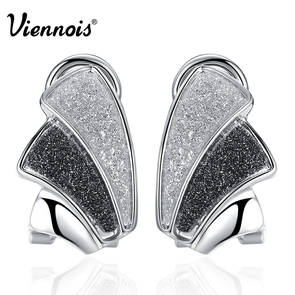 Viennois Silver/Rose Gold Color Women Stud Earrings Black & White Earrings Female Small Earrings Trendy Jewelry pair of trendy filigree rose gold rhinestone leaf fringe earrings for women