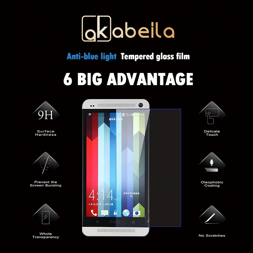 AKABEILA Tempered Glass For HTC ONE M7 802W Dual Sim 802D 802T Phone Screen Protector Film Explosion-proof Cover wholesale