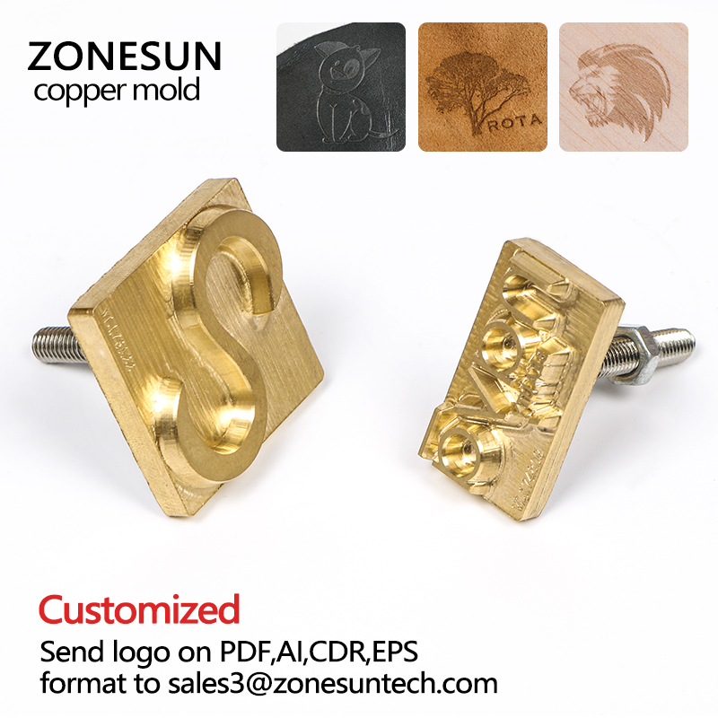 ZONESUN Customized copper Brass Stamp wood leather paper mold die cut bread die iron Heating emboss Mould Carving Brand Printing