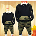 Clothing Sets 2016 Autumn Kids sport suit full sleeves blouse + camouflage pants suits Kids tracksuits for 2-8 years Family