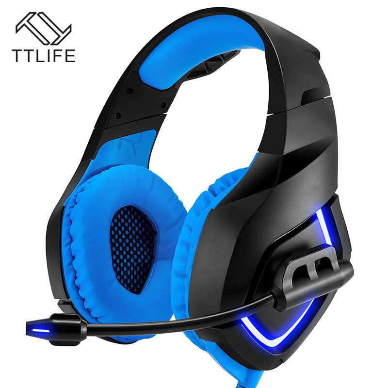 TTLIFE Wired Headphones AUX 3.5mm APT-X Gaming Headset Super Bass LED Light Noise Cancelling with Mic for Gamer PC Computer insermore active noise cancelling headphones wired bass stereo surround headset with mic flight headband for iphone xiaomi iq 3