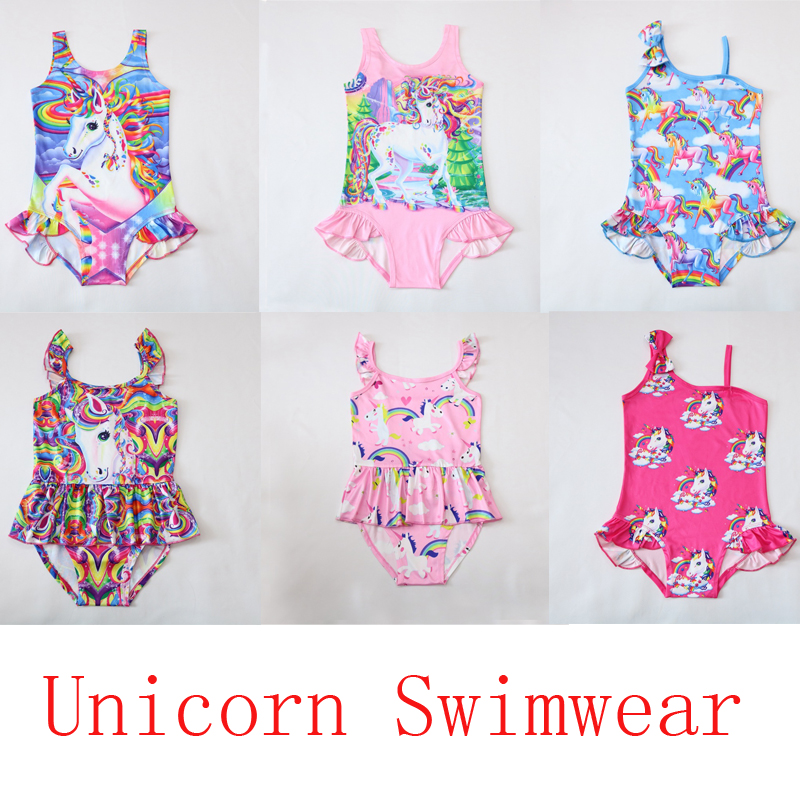 цены 2018 New Unicorn dress baby girl biquini one piece Kids girls swimsuit kid swimming Bathing Suit Swim Wear Children Girl Bikini