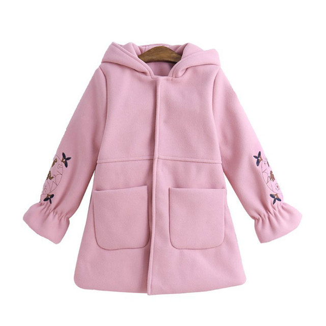 261064116f30 Girls Princess Woolen Coat Embroidery Hooded Spring Fall Jacket Cute Pink  Red Countryside Clothes For Kids 3-12T Cloaks Clothes