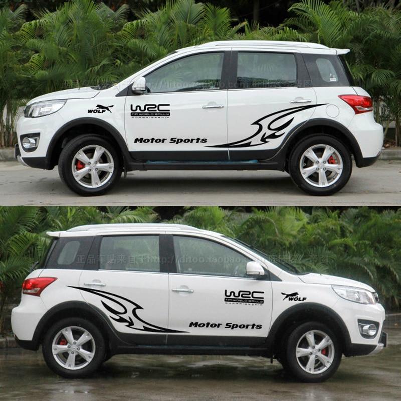 Mode Sport Automobile style de voiture styling stickers, side car porte carénage décor autocollant et étiquettes, die cut vinyle film spéléologue