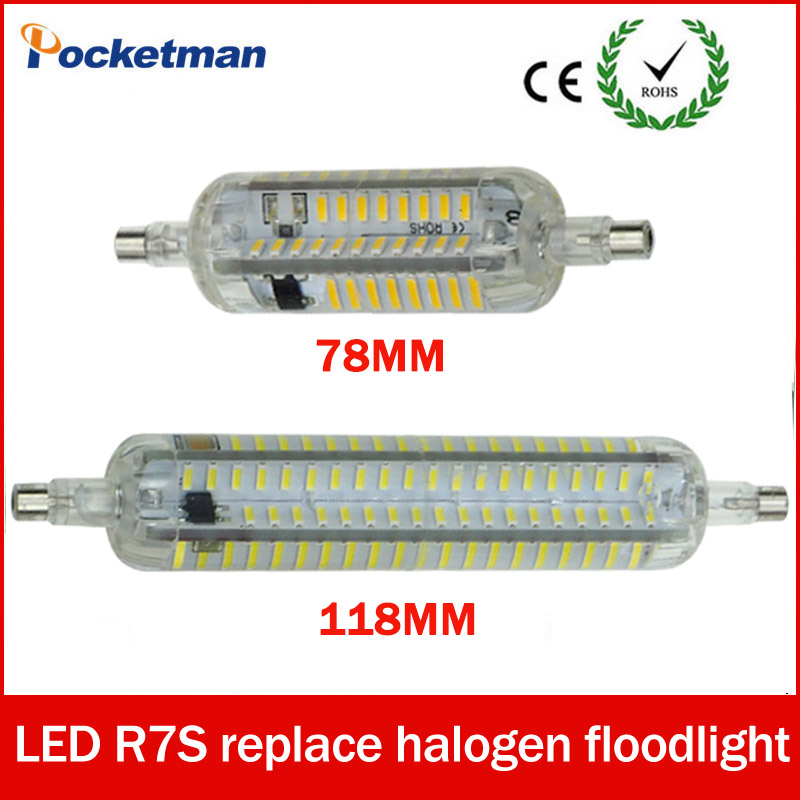 LED R7S 20W R7S j118 led 118mm 360 degree 10W 78mm LED bulb light lamp SMD4014 110V/220V replace halogen floodlight Silicone high power dimmable 189mm led r7s light 50w cob r7s led lamp with cooling fan replace 500w halogen lamp