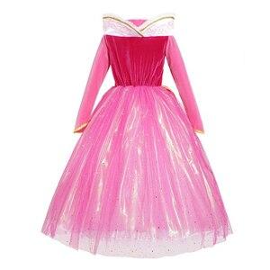 Image 3 - Śpiąca królewna kostium księżniczki Aurora sukienka dla dziewczynki cekinowa różowa suknia dla dzieci z długim rękawem Cosplay karnawałowe sukienki na Halloween