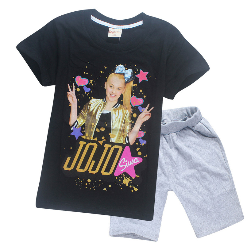 JOJO Siwa Girls Birthday Present Cotton Children Sky Dolls T Shirt Short Sleeve Summer Top Shorts Homewear Kids Clothes In Clothing Sets From Mother