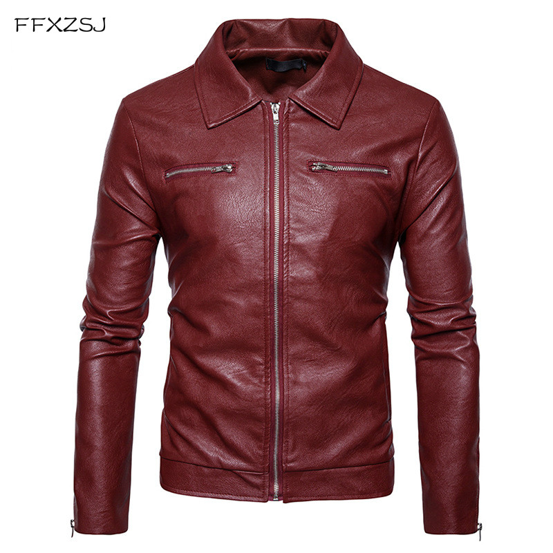 FFXZSJ Brand Autumn Winter England style Double pocket zip PU leather jackets men casual slim red PU leather jackets men S-2XL free shipping dhl brand new cow leather clothing man s 100% genuine leather jackets classics men s slim japan style jacket