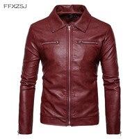 FFXZSJ Brand Autumn Winter England style Double pocket zip PU leather jackets men casual slim red PU leather jackets men S 2XL