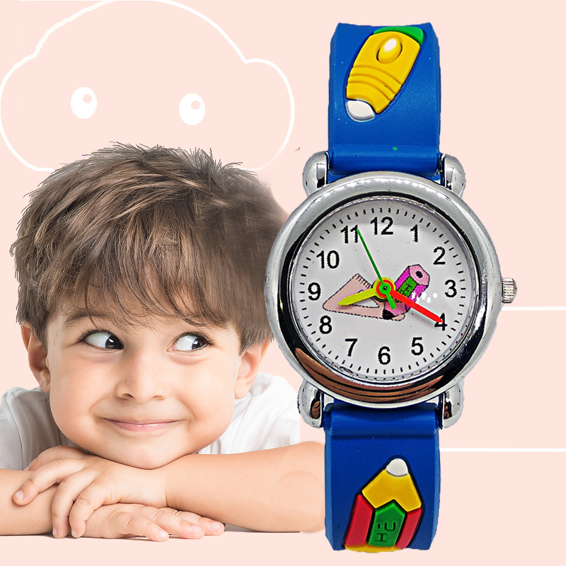 Durable Kids Watch Primary And Secondary School Students Triangle Ruler Pencil Children's Watches Child Watch Boys Girls Clock