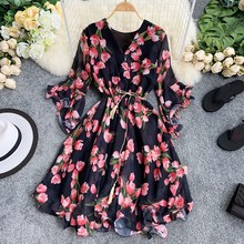 Summer Women Floral Print A Line Midi Dress Sexy V-Neck Chiffon Dress Bohemian A-Line Flare Sleeve Sweet Beach Dress Robe Femme