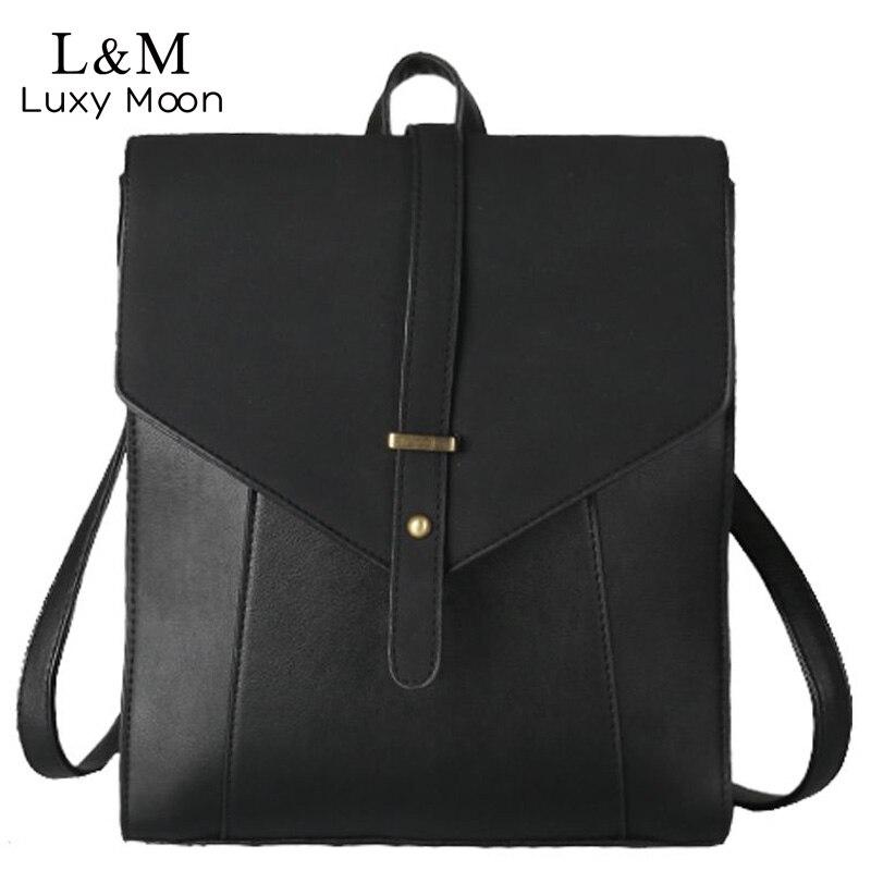 LUXY MOON Vintage Backpack Women Backpacks 2017 High Quality PU Leather School Bag Teenage Girls Shoulder