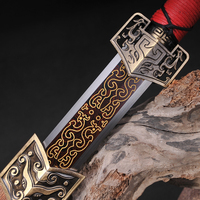 Red Blade Chinese Sword Fully Hand Made Damascus Folded Steel Straight Full Tang Bade Collection Sword