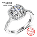 YANHUI Real original Silver Rings For Women AAAAA SONA CZ Cubic Zirconia Jewelry Rings RING SIZE 5 6 7 8 9 10 JZ063