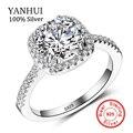 Yanhui real original sona anillos de plata para las mujeres aaaaa cz cúbicos Zirconia Anillos de La Joyería ANILLO de TAMAÑO 5 6 7 8 9 10 JZ063