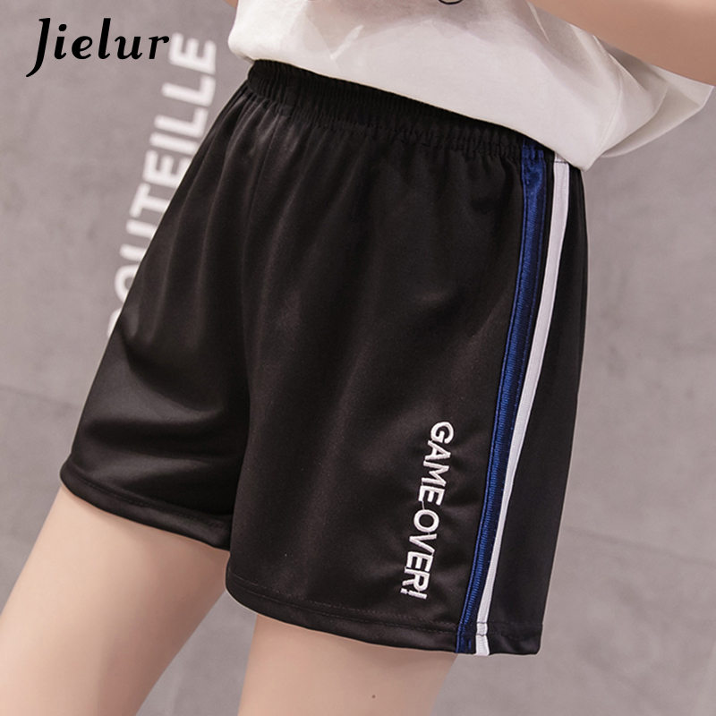 Jielur Wide-Leg-Shorts Pantalon Embroidery Elastic High-Waist Korean Casual Women Letter