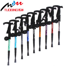 Professional T-Handle Grip Aerial Aluminium Alloy Walking Stick Telescopic 4 Section Alpenstock Antishock Outdoor Trekking Pole
