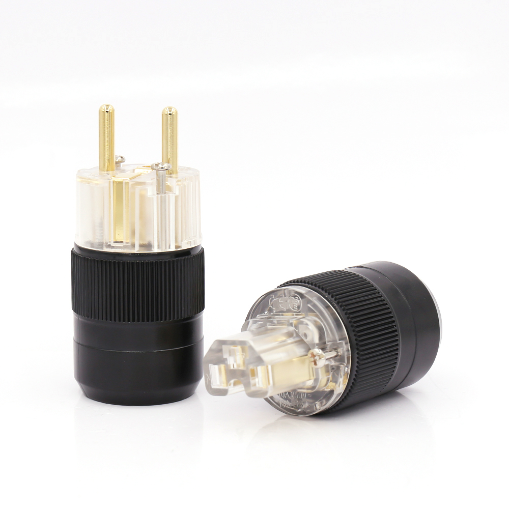 One Pair Transparent 24K Gold Plated EU European Schuko Power Connector IEC Plug For Audiophile Diy Cable