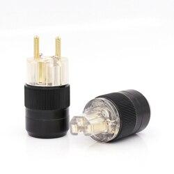 Um par de Transparente 24 K Banhado A Ouro Schuko Conector De Alimentação IEC Plug Europeia UE para audiófilo cabo diy
