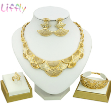цена Liffly Dubai Jewelry Sets Female Bridal Jewelry Sets Half Moon Crystal Necklace Earrings Bracelet Fashion Gold Jewelry