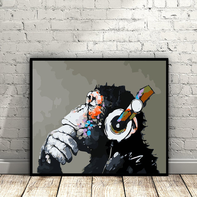 1 Pcs Modern Wall Decor Monkey Listening Music Poster For Home Room Painting On Canvas