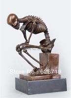 Free Shipping Classical Famous BronzeThinker Skeleton Statue Skull SculptureCZS 055