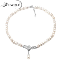 Genuine Freshwater pearl choker necklace women,Fashion natural pendant necklace girls jewelry white wedding gift adjustable