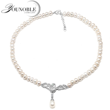 Genuine Freshwater pearl choker necklace women,Fashion natural pendant girls jewelry white wedding gift adjustable