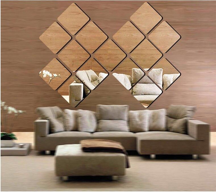 Square Mirror Wall Decor Fundecor New Large D Square Mirror Wall Decoration Stickers On Wall Mirrors Decorativ