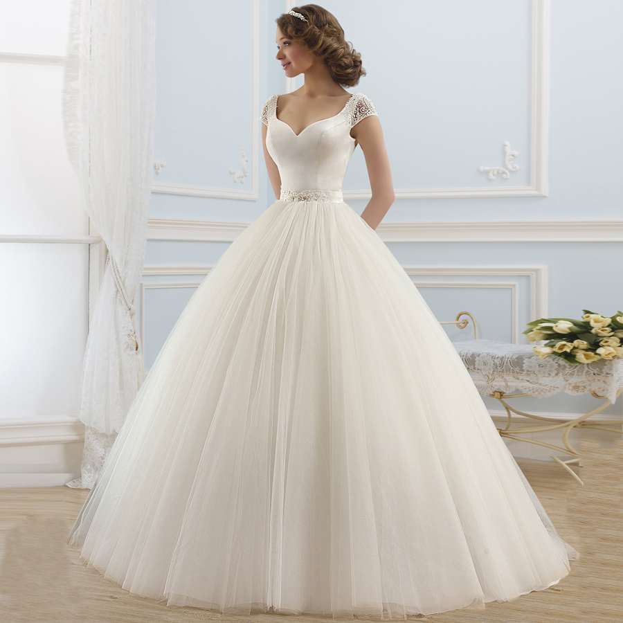 Gorgeous Ball Gown Wedding Dresses Cap Sleeve Tulle Vestido De Noiva Wedding Dress Beading Sashes Bridal Gown For Bride