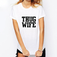 Thug Wife Letter Style Short Sleeve Hip Hop Male T Shirts Women Tattoo Printing Casual Men