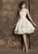 Kurze brautkleider 2015 neue heiße fashion scoop neck sleeveless elegantes drapiert weiß satin abendkleid vestido de festa longo